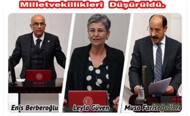 Üç Milletvekilinin vekillikleri düşürüldü
