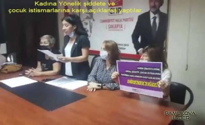 Sakarya 'da CHPli kadınlar kadına şiddet ve çocuk istismarına karşı olduklarını açıkladılar