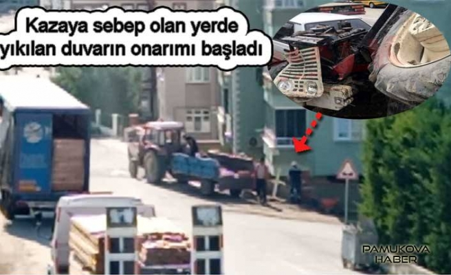 Pamukova da devrilen traktörün yıktığı duvar yapılmaya başlandı.