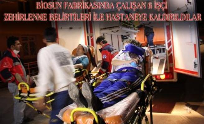 Bisosun Katı Atık kısmında çalışan 6 işçi zehirlenme endişesi ile hastaneye kaldırıldı.