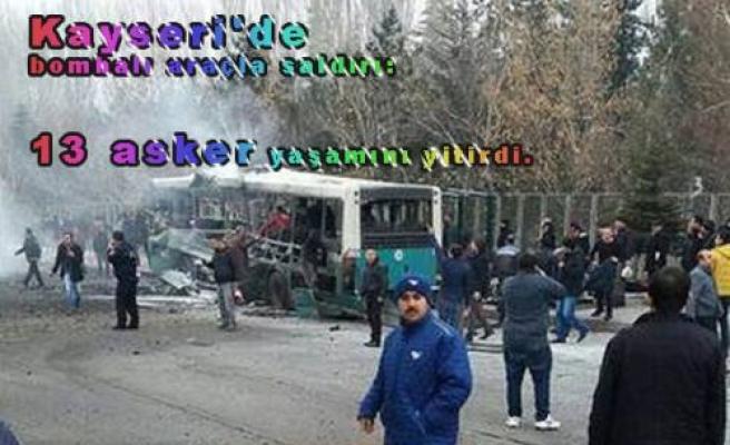 Kayseri de Halk Otobüsü Önünde Patlama.