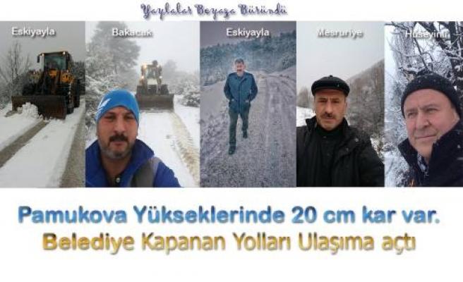 Pamukova Yükseklerine 20 cm kadar kar yağdı.