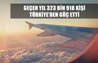 GEÇEN YIL 323 BİN 918 KİŞİ TÜRKİYE'DEN GÖÇ...