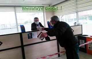 Pamukova'da Korona Virüs tedbirleri uygulanan yerlerde...