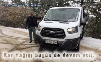 Pamukova da kar yağışı bugünde devam etti.
