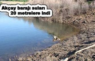 Akçay Baraj gölü kurumaya başladı.